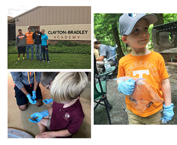 Collage of young STEM students holding salamanders and learning about the Bsal pathogen.