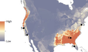 A spatial risk assessment of the spread of Bsal.